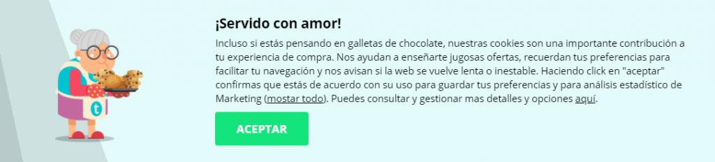 Esempio di Microcopy Thomann.es Cookie Policy spagnola
