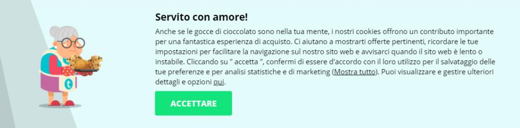 Esempio di Microcopy Thomann.it Cookie Policy italiana